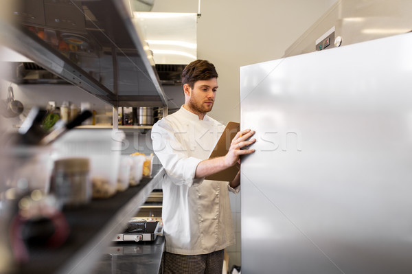 chef with clipboard doing inventory at kitchen Stock photo © dolgachov