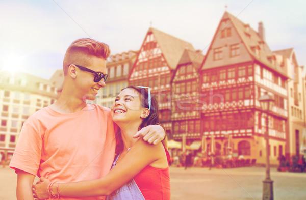 happy teenage coupler in frankfurt city Stock photo © dolgachov