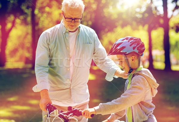 祖父 少年 自転車 夏 公園 家族 ストックフォト © dolgachov