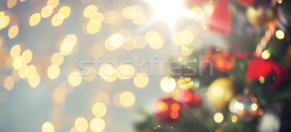 Wazig kerstboom ingericht vakantie nieuwjaar Stockfoto © dolgachov