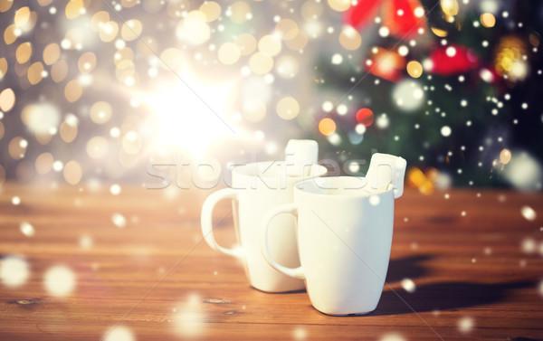 Chocolate quente marshmallow madeira férias inverno Foto stock © dolgachov