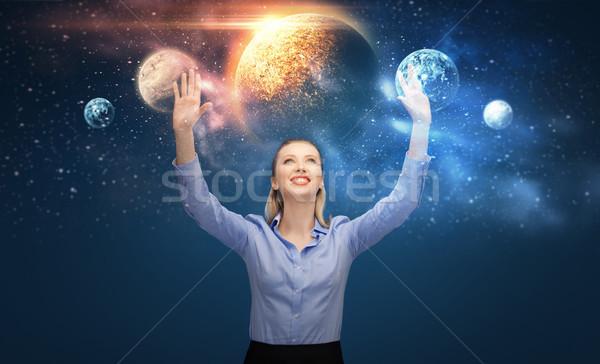 Mutlu işkadını sanal gezegenler uzay iş Stok fotoğraf © dolgachov