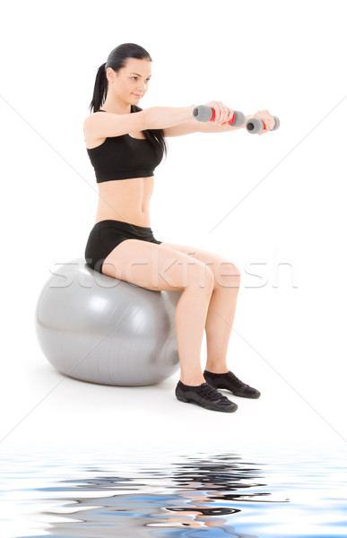 Fitnessz oktató súlyzók pilates labda nő Stock fotó © dolgachov