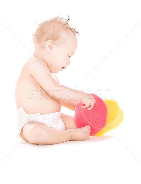 Stok fotoğraf: Bebek · erkek · resim · çocuk · temizlemek · gülen