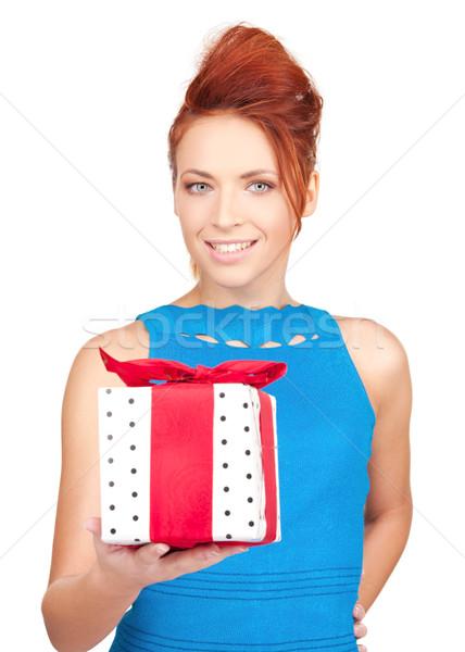 ストックフォト: 幸せな女の子 · ギフトボックス · 白 · 女性 · 幸せ · 歳の誕生日
