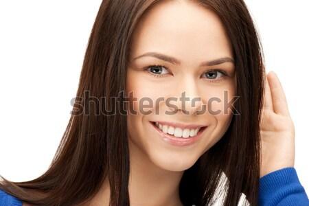 Kadın dinleme dedikodu parlak resim genç kadın Stok fotoğraf © dolgachov