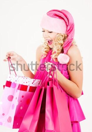 Stock fotó: Derűs · mikulás · segítő · lány · bevásárlótáskák · kép