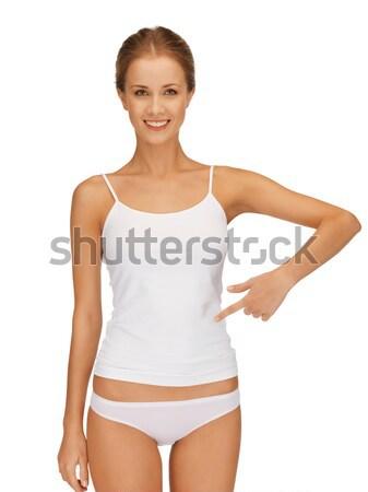 Piękna kobieta bawełny zdjęcie kobieta sexy fitness Zdjęcia stock © dolgachov