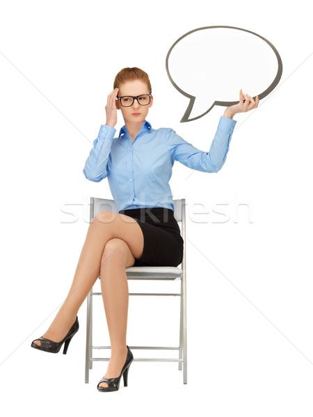 pensive businesswoman with blank text bubble Stock photo © dolgachov