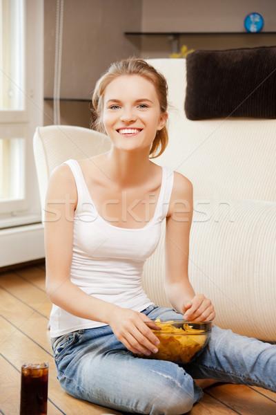 笑みを浮かべて 十代の少女 チップ コークス 画像 女性 ストックフォト © dolgachov