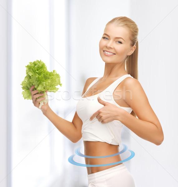 Sportos nő saláta mutat kép gyönyörű Stock fotó © dolgachov