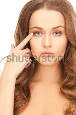 Nő mutat arc arc gyönyörű nő modell Stock fotó © dolgachov