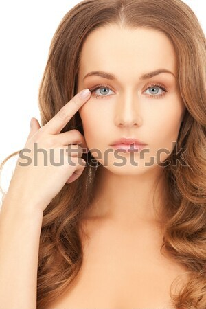 Vrouw wijzend wang gezicht mooie vrouw model Stockfoto © dolgachov