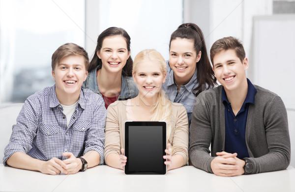 Stockfoto: Glimlachend · studenten · scherm · onderwijs · technologie