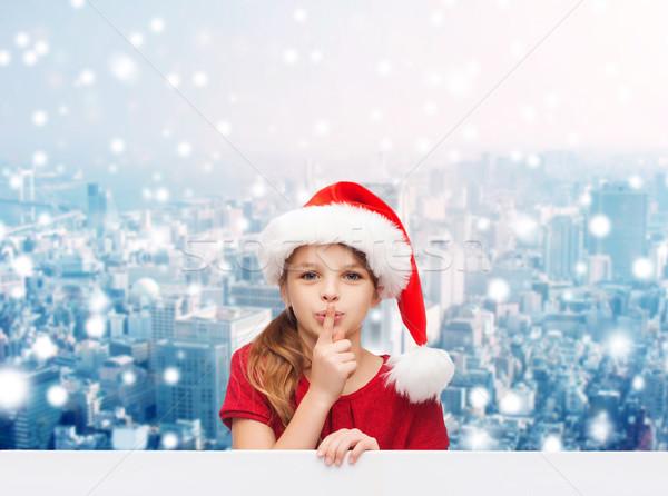 Uśmiechnięty dziewczynka Święty mikołaj pomocnik hat christmas Zdjęcia stock © dolgachov
