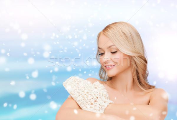 beautiful woman washing herself with wisp Stock photo © dolgachov