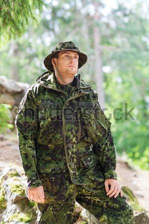 小さな 兵士 ハンター 郡 森林 狩猟 ストックフォト © dolgachov