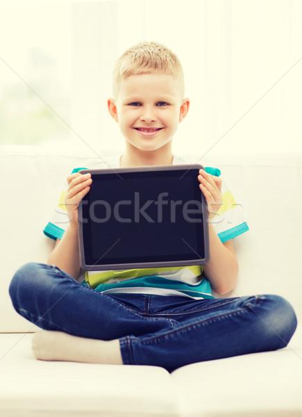 Stockfoto: Glimlachend · jongen · computer · home · recreatie