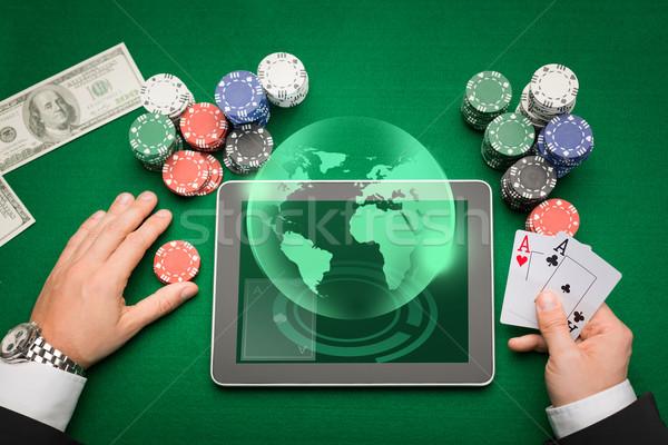 казино покер игрок карт таблетка чипов Сток-фото © dolgachov