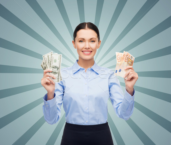 女性実業家 ドル ユーロ 現金 お金 ビジネスの方々 ストックフォト © dolgachov