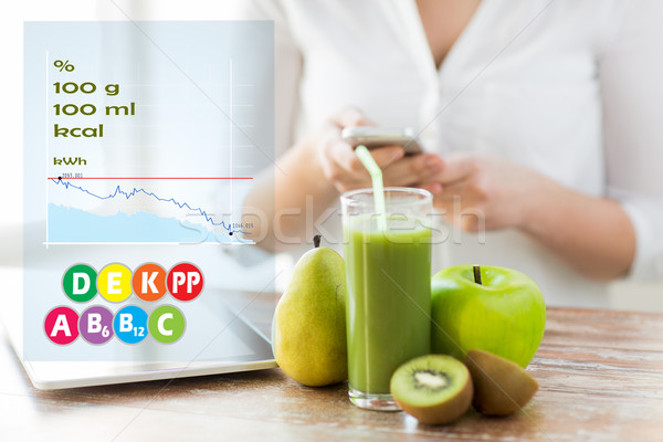 close up of woman with smartphone and fruits Stock photo © dolgachov
