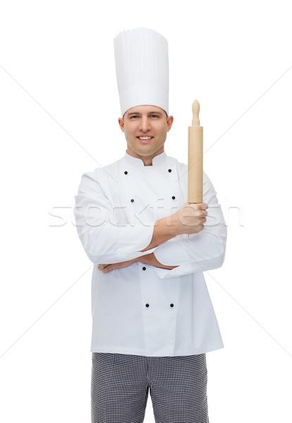 幸せ 男性 シェフ 調理 麺棒 ストックフォト © dolgachov