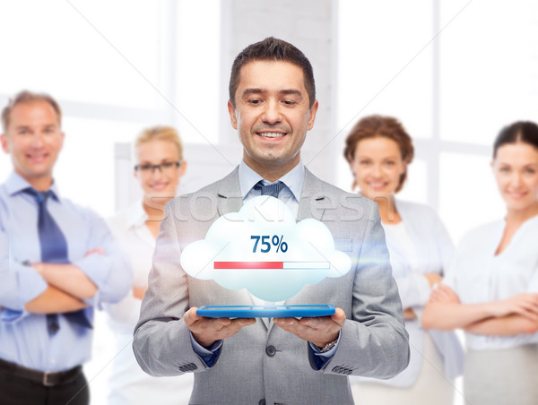 happy businessman with tablet pc transferring data Stock photo © dolgachov