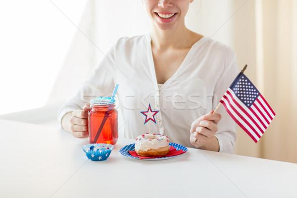 Foto stock: Feliz · mujer · americano · día · celebración