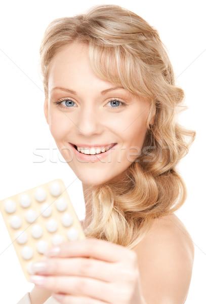 Fiatal nő tabletták kép fehér nő orvosi Stock fotó © dolgachov