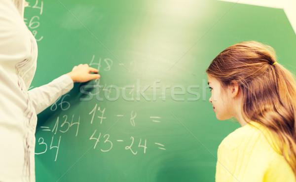 Aluna professor tarefa giz conselho educação Foto stock © dolgachov