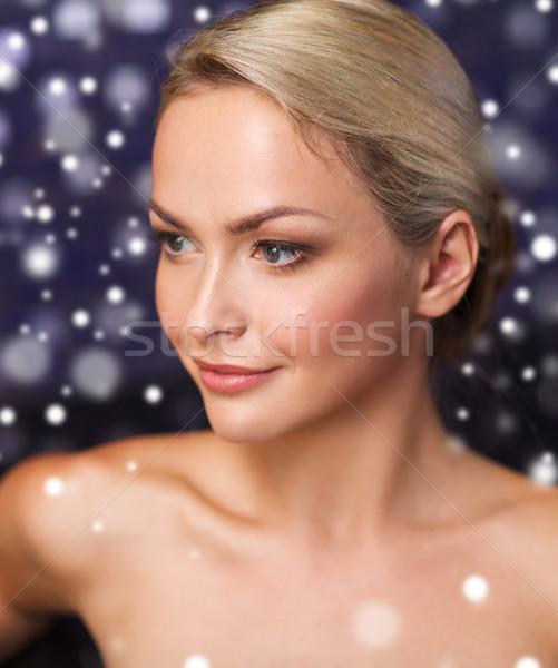 close up of young woman at bath or sauna Stock photo © dolgachov