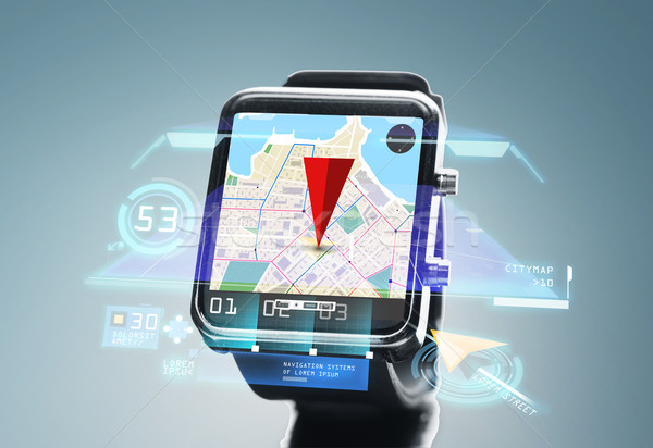 close up of smartwatch with navigator map Stock photo © dolgachov