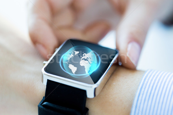 ストックフォト: 手 · 世界中 · ホログラム · ビジネス · 技術
