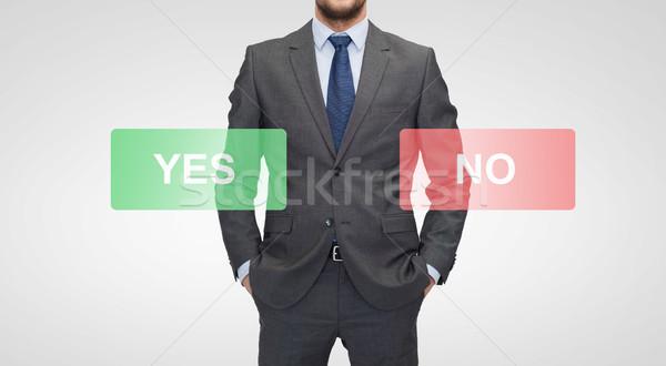 ビジネスマン はい ボタン ビジネス ストックフォト © dolgachov