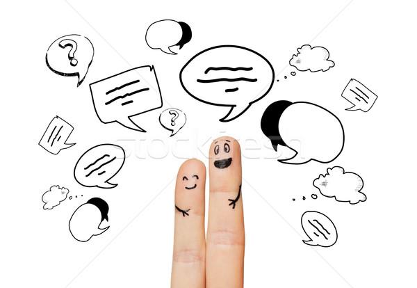 Due dita comunicazione nubi famiglia Foto d'archivio © dolgachov