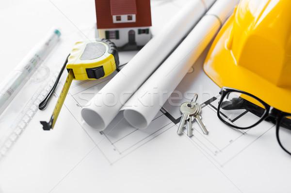 Blueprint strumenti casa tasti architettura Foto d'archivio © dolgachov