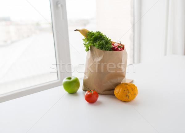 basket of fresh ripe vegetables at kitchen Stock photo © dolgachov