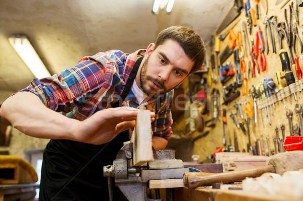 ács dolgozik repülőgép fa műhely hivatás Stock fotó © dolgachov