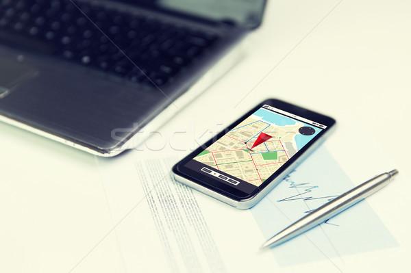 close up of smartphone with gps navigator map Stock photo © dolgachov
