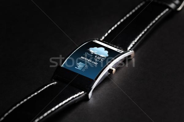 Smart horloge weer prognose moderne Stockfoto © dolgachov