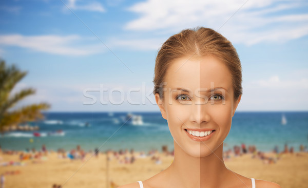 close up of beautiful woman with half face tanned Stock photo © dolgachov