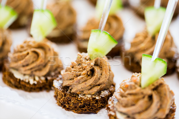 close up of canape with paste on serving tray Stock photo © dolgachov