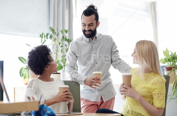 Сток-фото: счастливым · Creative · команда · питьевой · кофе · служба