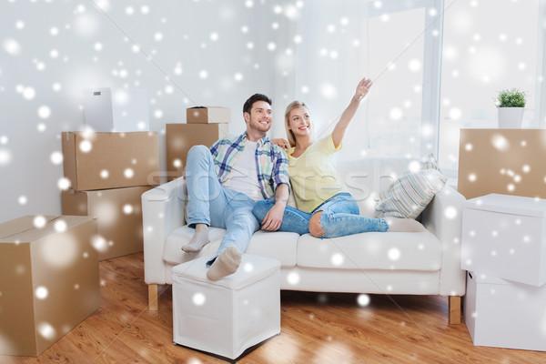 Stock fotó: Pár · dobozok · mozog · új · otthon · álmodik · emberek
