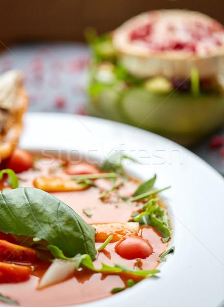 close up of gazpacho soup at restaurant Stock photo © dolgachov