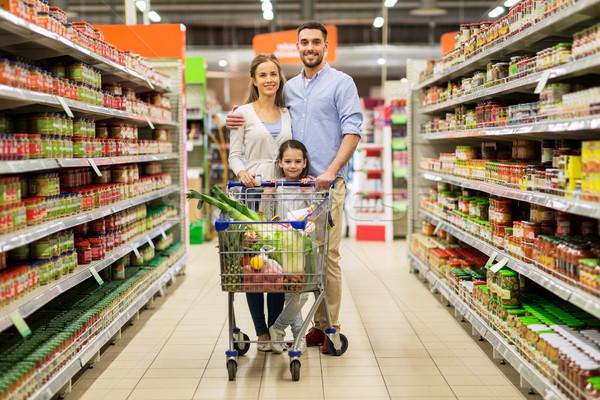 Família comida carrinho de compras mercearia venda Foto stock © dolgachov