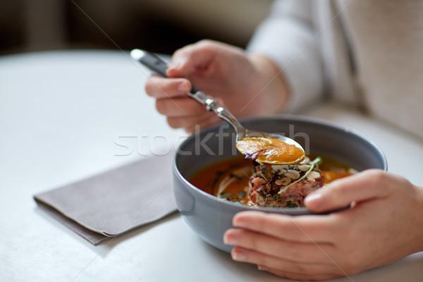 женщину еды тыква кремом суп Сток-фото © dolgachov