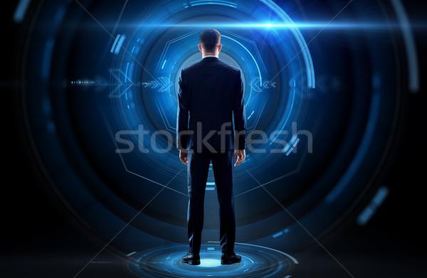 üzletember hát virtuális vetítés üzlet technológia Stock fotó © dolgachov