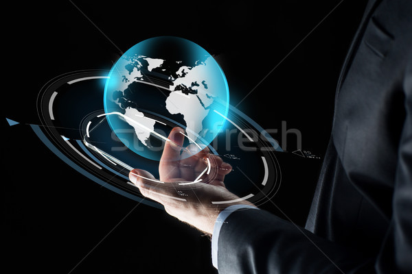 Сток-фото: бизнесмен · стороны · смартфон · земле · бизнеса · масса