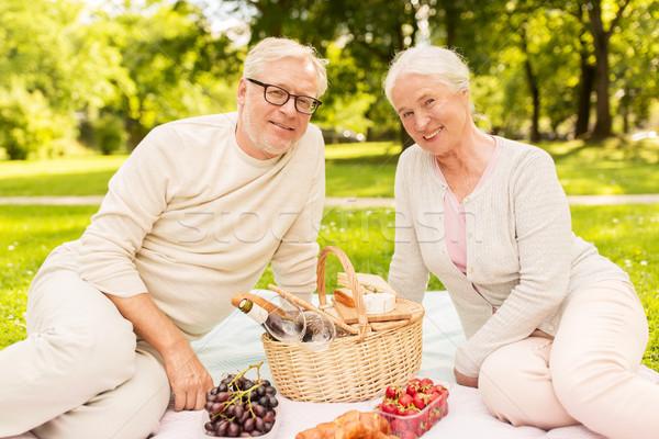 Stockfoto: Gelukkig · picknick · zomer · park · ouderdom